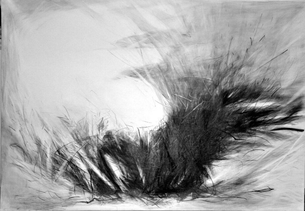 Nitzozot, Gnister. 140x200 blyant på lærred af Nurith Miryam Lumer-Klabbers